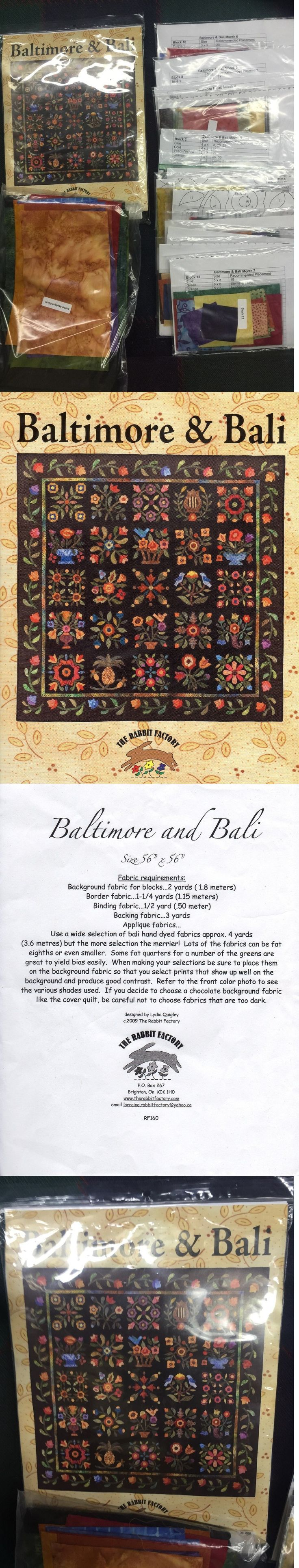 Quilting Kits 19160: Baltimore And Bali Bom Quilt Package - Rabbit Factory - Patterns And Fabric -> BUY IT NOW ONLY: $190 on eBay!