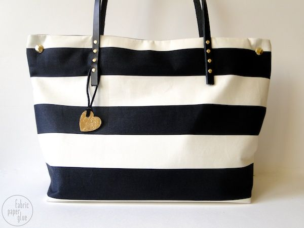 Fabric Paper Glue: {re}Try This: Striped Tote Bag