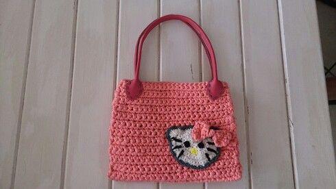 Crochet hello kitty bag,zpaghetti yarn (tshirt)