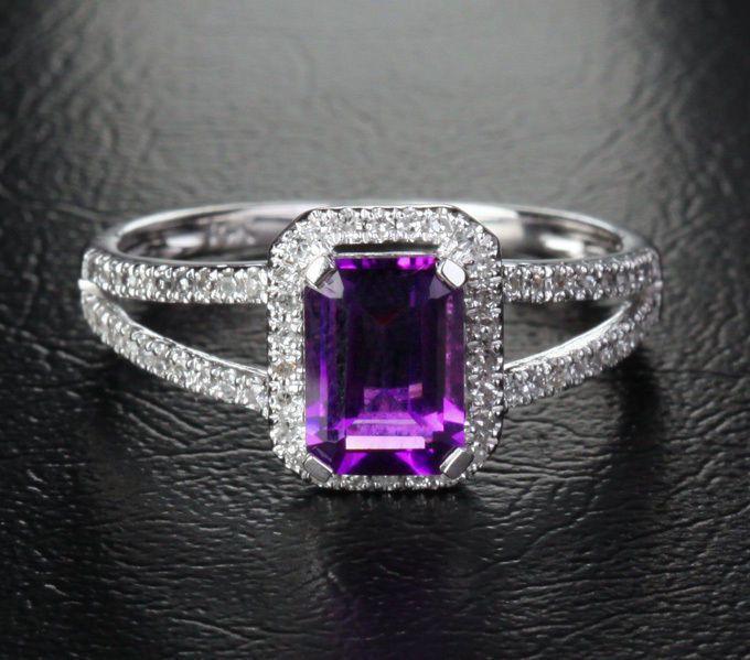 $488 Emerald Cut Purple Amethyst Engagement Ring Pave Diamond Wedding 14k White Gold 5x7mm Split Shank