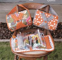 Beatle Bag Grab, Sew and Go Bag Pattern by Abbey Lane Quilts at KayeWood.com. The pattern includes 4 Inserts which are heavy duty vinyl bags. They each have a zip closure.  Each insert has two bags, one on each side, side, so in total you get 8 bags. they Velcro into the Beatle Bag. http://www.kayewood.com/item/Beatle_Bag_Pattern/2985 $20.00