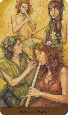 Wednesday's Tarot: 4 OF WANDS (Tarot of the Hidden Realm) – It's a great day to stop and acknowledge the progress you have made so far. You don't have to be at the finish line before you celebrate your achievements to date! In fact, it's a great idea to find a way to give yourself a pat on the back and to further encourage your continued progress in whatever you are doing.