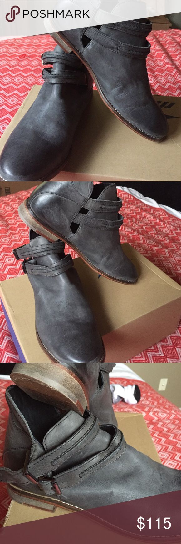 Women's Free People Boot Beautiful Black/Gray Free People Boots. Size 39, I'm a 81/2 or 9 and they fit perfect. Literally worn one time! Free People Shoes Ankle Boots & Booties