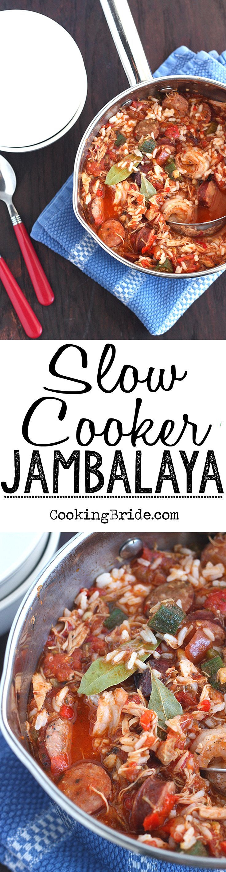 Recipe for hearty slow cooker jambalaya. Chicken, spicy andouille sausage, and shrimp simmered in a slow cooker and served over rice. #Jambalaya