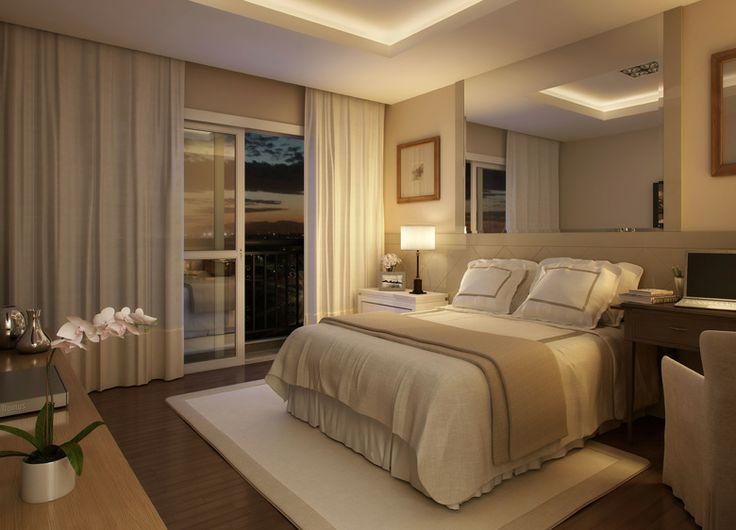 Quarto de casal com espelho acima da cama. Edificio central park