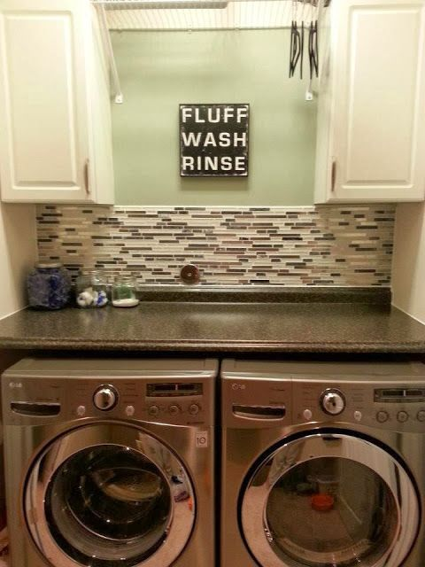 Laundry Closet.... counter for folding, hanger/extending dryer rack space, wallpaper background instead of tile