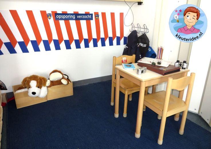 Rollenspel met kleuters, thema politie, hoek voor speurhonden, kleuteridee.nl, Kindergarten , Police theme