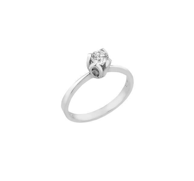 Μονόπετρο δαχτυλίδι Al'oro  Κ18 λευκόχρυσο διαμάντι ZL587