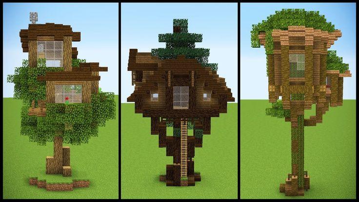 3 Minecraft Starter TREEHOUSE Designs