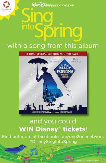 US ONLY! Pick a song from Mary Poppins & submit your 30 sec video to the #DisneySingIntoSpring video contest on now thru 4/18. Go to One2One Network's Facebook Page to enter.