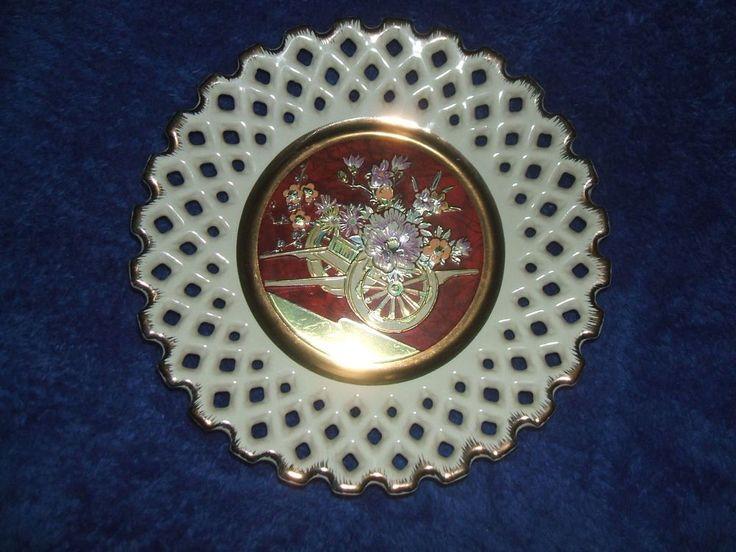 Beautiful Art Of Chokin Plate 24k Gold Edge Decorative Lattice Oriental Japanese #Vintage #EbaySales