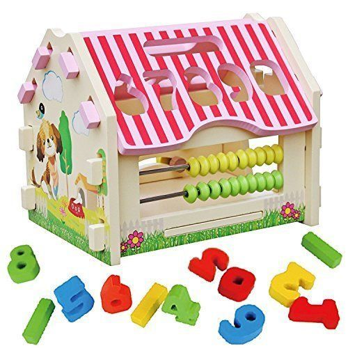 Activity Toy Wooden Shape Sorter House Educational Box Stacker Blocks Kids #SD4U