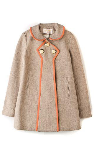 Wool Pea CoatCoats Beautiful, Fashion, Trim Wool, Peas Coats, Orange Trim, Wool Peacoats, Coats 200500, Winter Coats, Wool Peas
