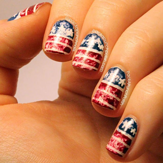 PackAPunchPolish: Distressed American Flag Nail Art