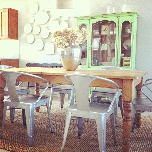Sneak Peek Of Our New Dining Room Table Chairs I Love These Metal Tub