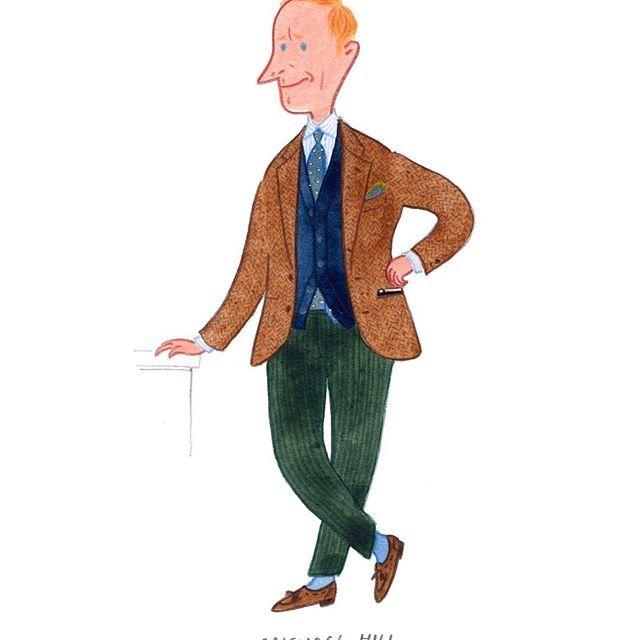"""Celebrating the cloth""-Michael Hill @drakesdiary #mensfashion #fashionillustration #menswear #handmadeties #drakeslondon"