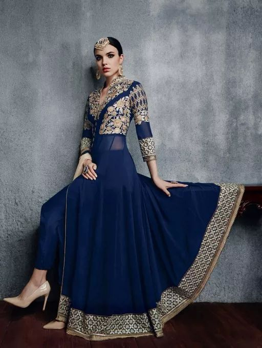 Blue Faux Georgette Suit with Handwork
