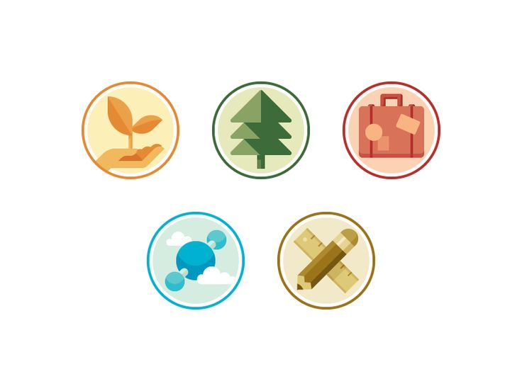 Icon set for Rainforest Alliance's program areas: agriculture, forestry, tourism, carbon, and education.  Don't know if these are quite there yet, but I feel like I've hit a wall. Any thoughts?