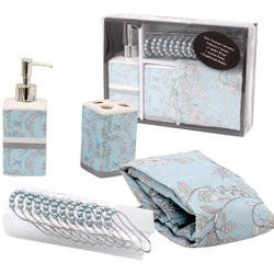 Complete Bathroom Set Deluxe Blossom 1 Shower Curtain 1 Toothbrush Holder 1 Lotion Pump  12 Shower Curtain Rings  Gift Set * For more information, visit image link.