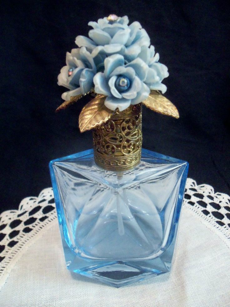 Vintage blue glass floral jewel topper perfume bottle