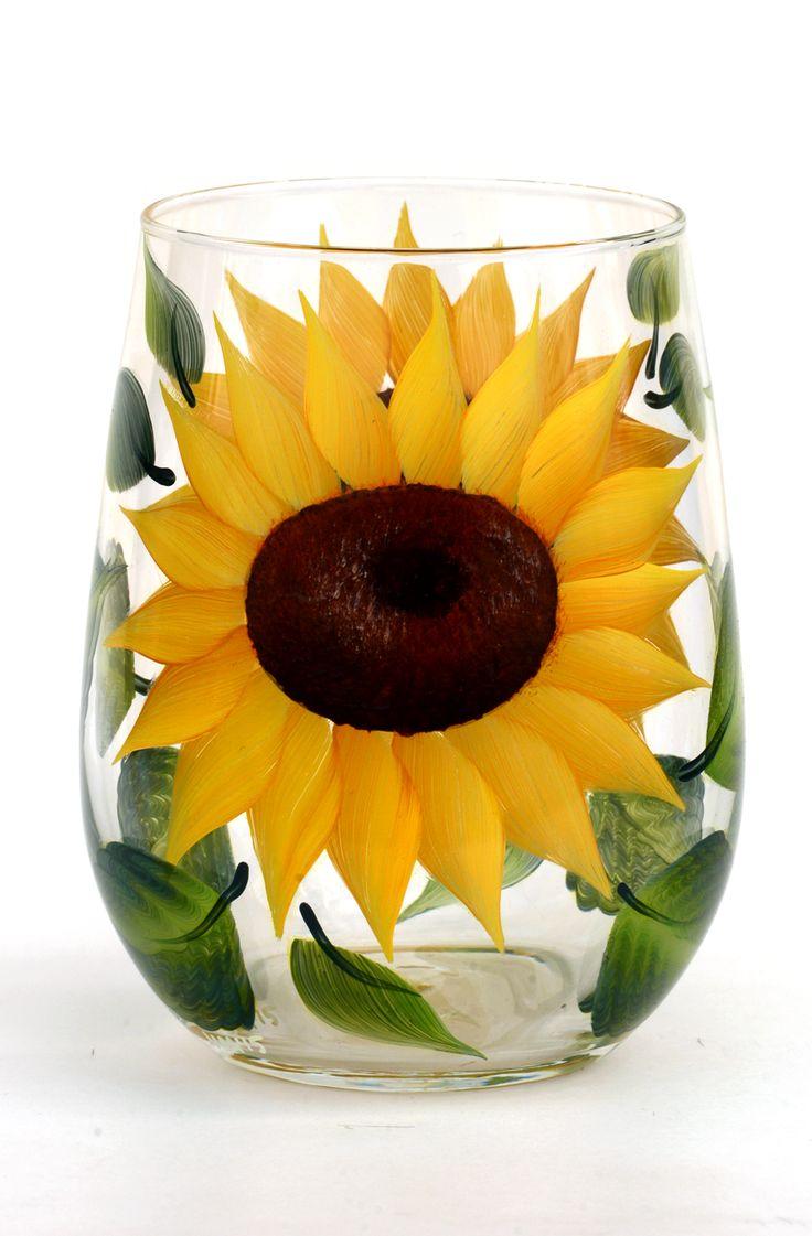 Sunflowers Stemless Wine Glass