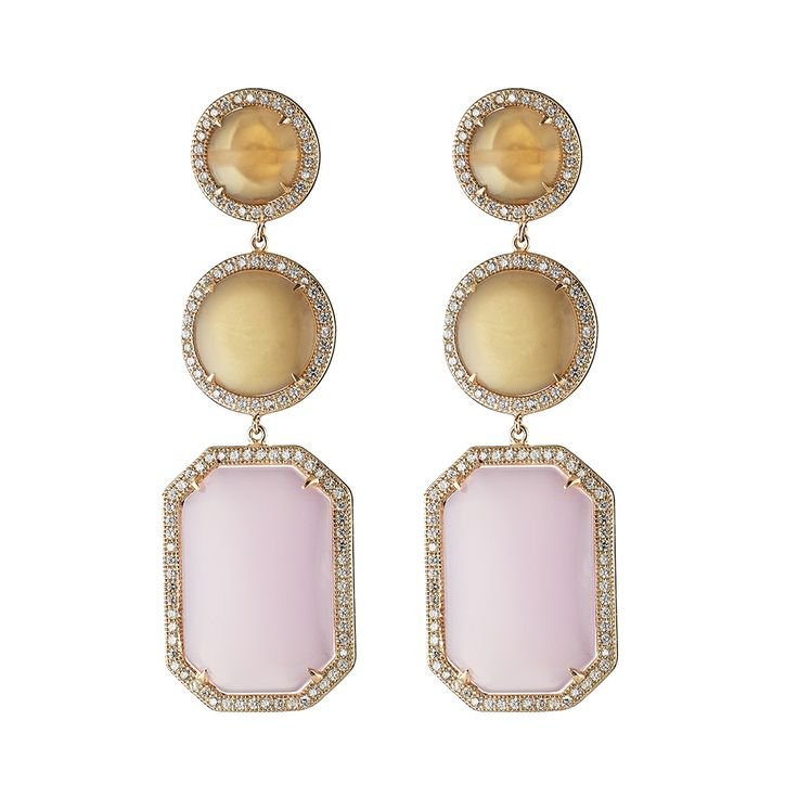 Oxette Earrings - Couture Collection - Available here http://www.oxette.gr/kosmimata/skoularikia/silver-rose-gold-plated-earrings-pink-opa-org-moon-559l-1/       #oxette #OXETTEearrings #jewellery