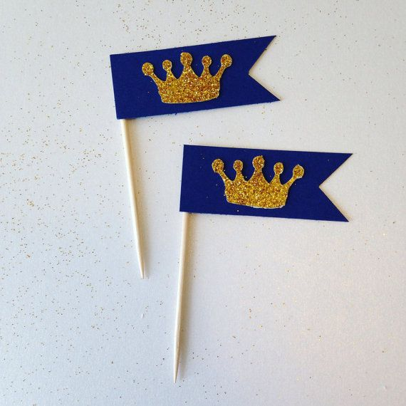 24CT Gold crown . Royal birthday cupcake toppers . Flag cupcake toppers . Gold crown . Prince theme . Princess theme . Cake smash decor