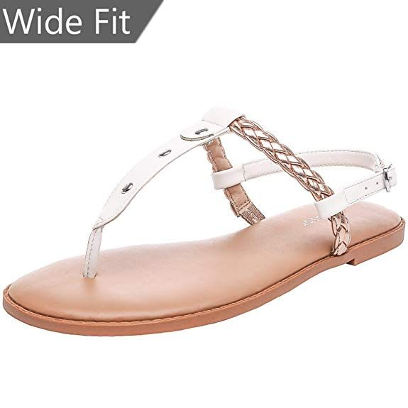| Aukusor Women's Wide Width Flat Sandals Flip