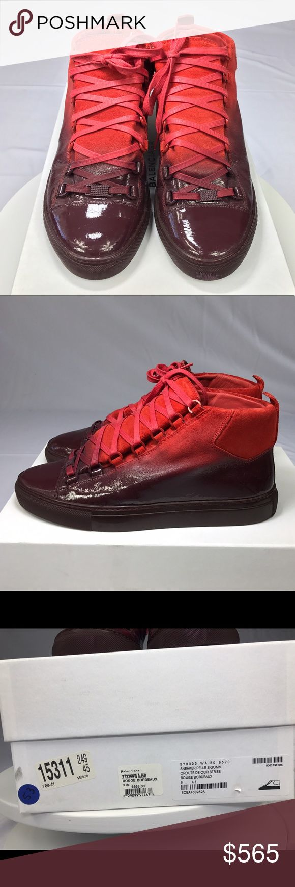 "Balenciaga Arena Sneakers - Dipped Collection-Red Red Dipped Collection Balenciaga Arena Sneakers. These shoes were worn a short time for a photo shoot and are in ""like new"" condition. They are a men's Size 41. My US shoe size is a 9. Balenciaga Shoes Sneakers"