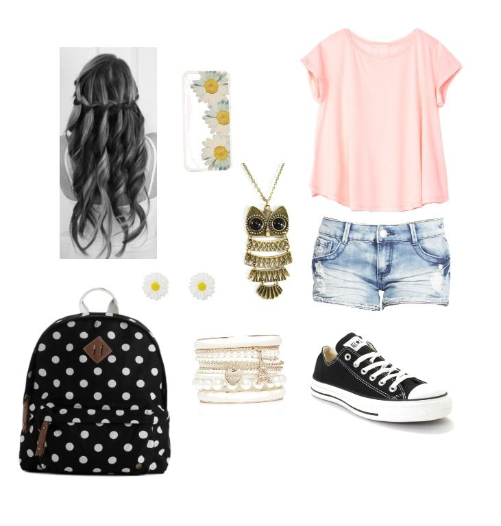 Cute and simple outfit for teens on the first day of school, only with longer shorts because I dont think those follow the dress code... official-mk-mall.de.hm $61.99 michael kors bags, handbags,mk bags,