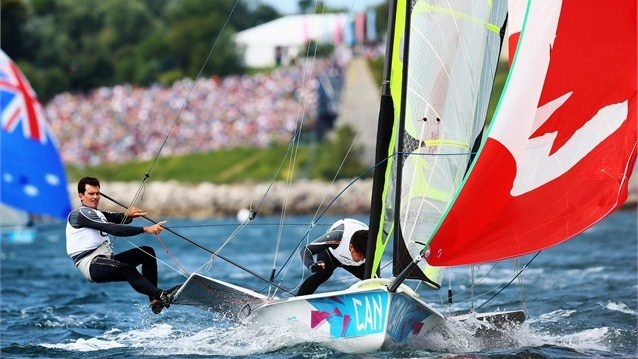 Gordon Cook (L) and Hunter Lowden (R) of Canada compete in the men's 49er