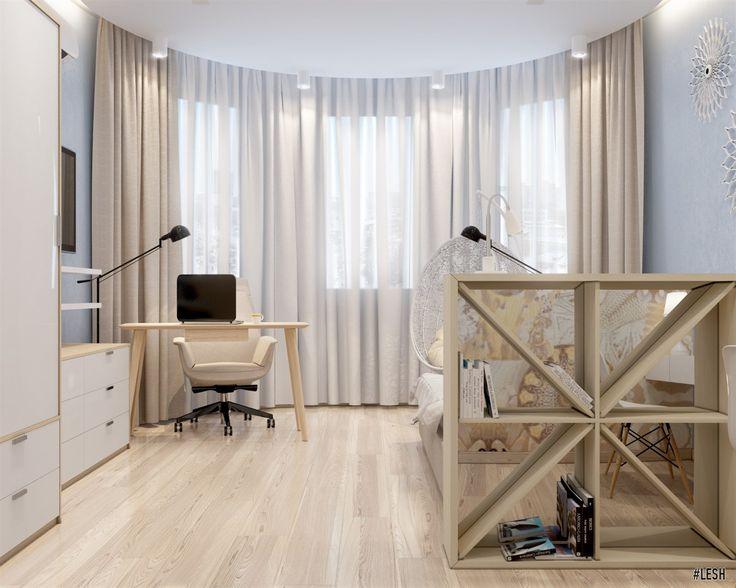Дизайн спальни с эркером | Студия LESH (спальня, современная спальня, эркер, светлый дизайн, интерьер спальни, архитектура)