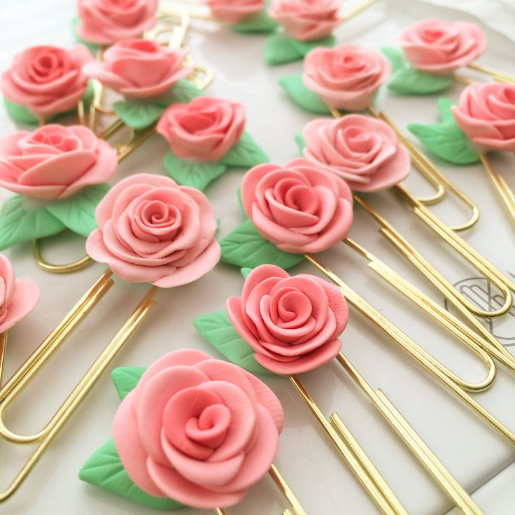 Peach Rose Planner Clips