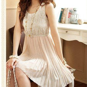 T New Sexy Women's Sleeveless Dress Lace & Chiffon Sundress Pleated MIni Dresses + T bracelet (L)