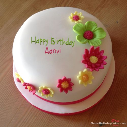 The name [aanvi] is generated on Colorful Flowers Birthday Cake With Name image. Download and share Birthday Cakes For Girls images and impress your friends.