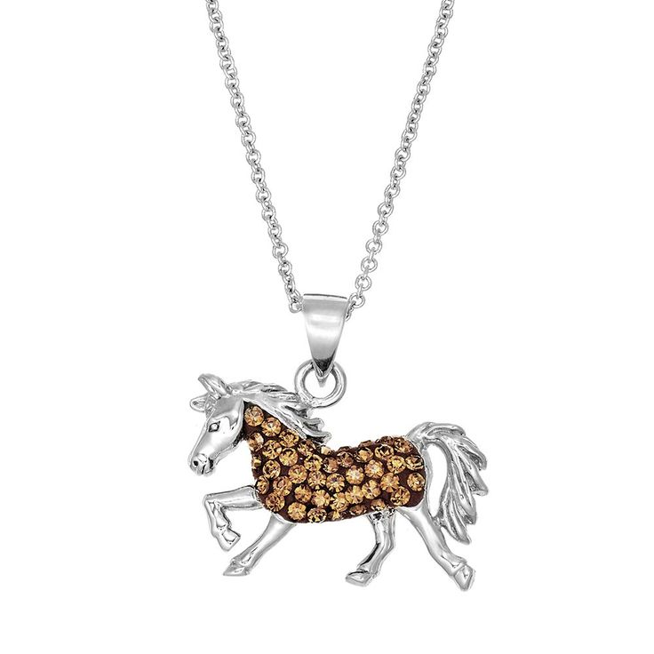 Silver Luxuries Crystal Horse Pendant Necklace, Women's, Brown
