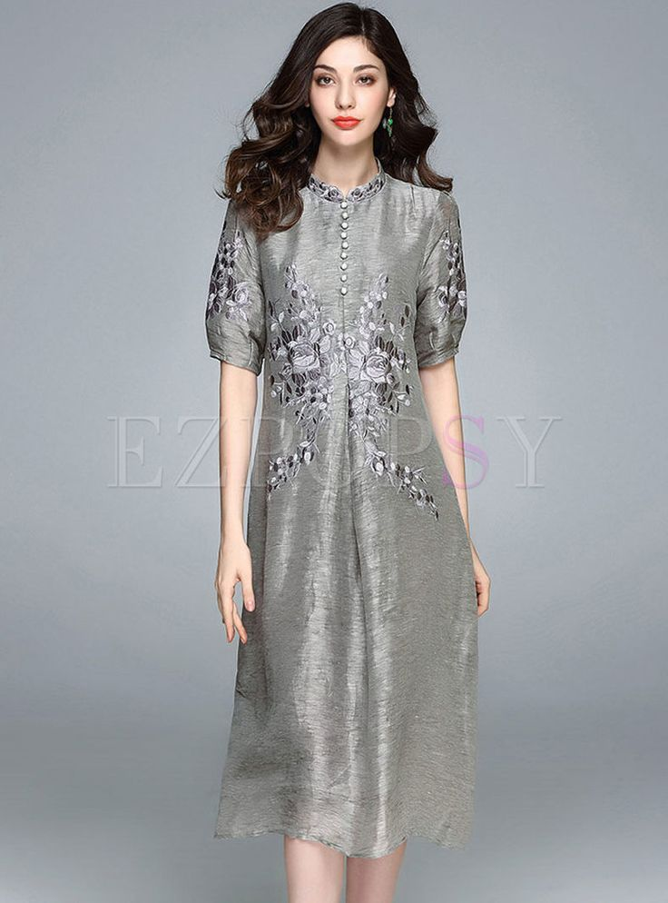 Shop for high quality Vintage Embroidered Stand Collar A-line Skater Dress online at cheap prices and discover fashion at Ezpopsy.com