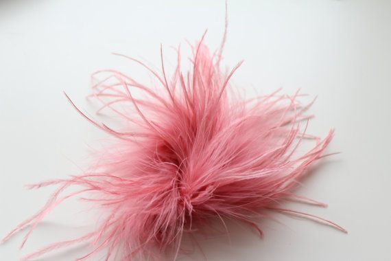 Dusty Pink Ostrich  Feather Tuft / Craft by HeartyArtSupplies, $4.95