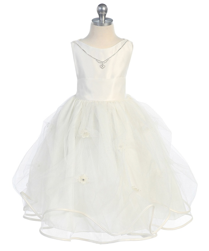 Ivory Elegant Blossom Dress with Necklace