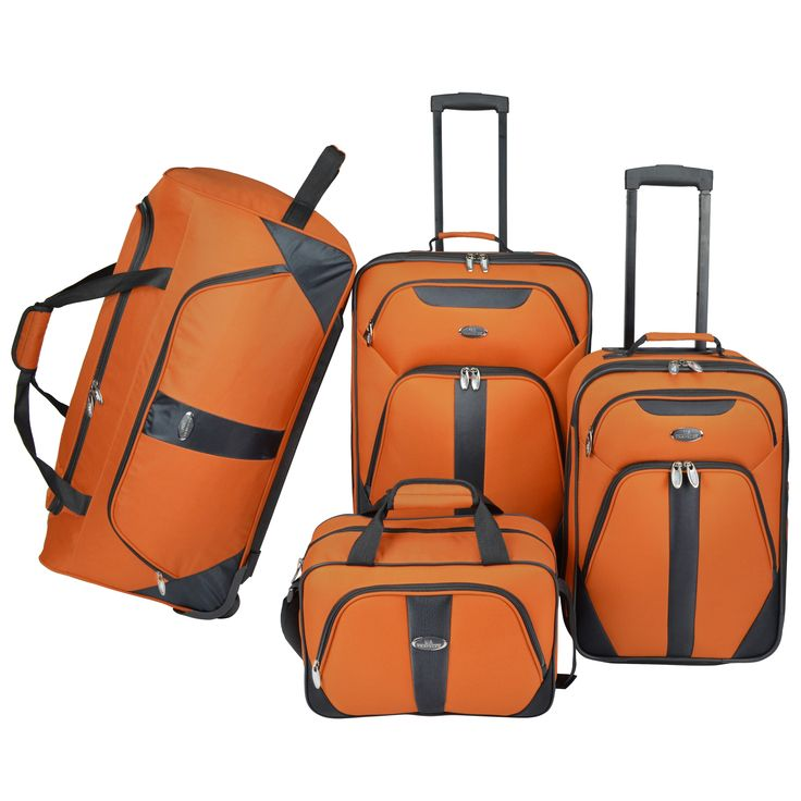 The U.S Traveler 4-piece luggage set is lightweight and durable for easy traveling. The tote and small upright are compact enough to carry on with you, and the fun, bright colors are easy to spot at baggage claim, perfect for the professional traveler.