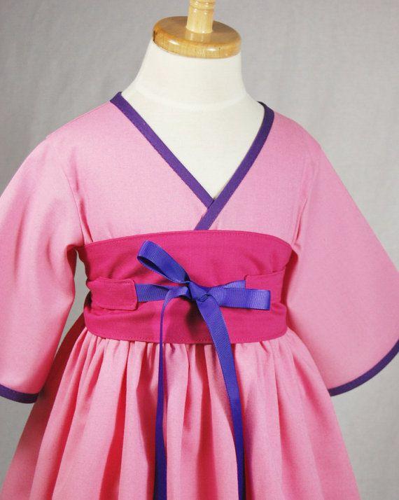 Little Girls Dress  Mulan  Kimono Style by pinkmouse on Etsy, $44.00