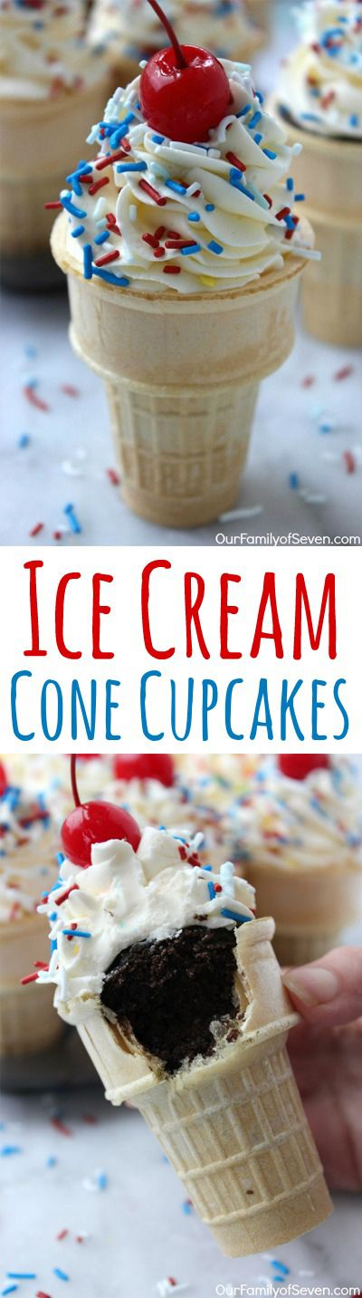 Ice Cream Cone Cupcakes- Super simple and fun dessert. Great treat for parties. Perfect for July 4th.