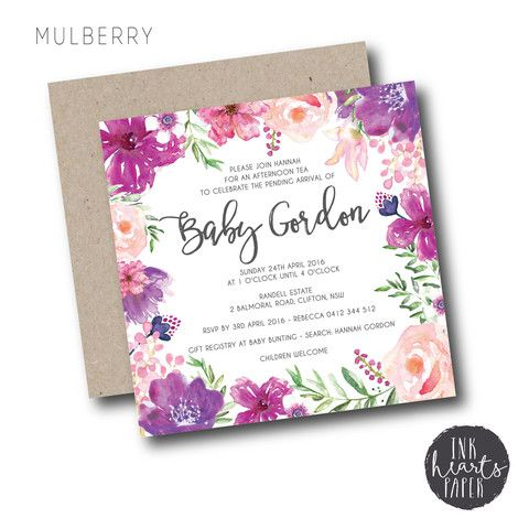 25 best cakes images on pinterest anniversary cakes decorating mulberry baby shower invitation set purple pink garden girl boy unisex beautiful floral watercolour watercolor unique filmwisefo