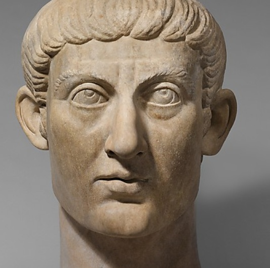 Marble portrait head of the Emperor Constantine I  Constantine the Great was the first Christian emperor of Rome.  ca. A.D. 325–370  http://www.metmuseum.org/Collections/search-the-collections/130013374#fullscreen