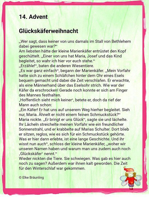 Glückskäferweihnacht – 14. Advent | Winterzeit – Märchenfrau – Geschichten, Märchen und Gedichte