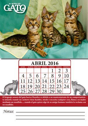 ¡Descárgate gratis en PDF los calendarios de El Mundo del Perro y El Mundo del Gato! Mes: Abril 2016