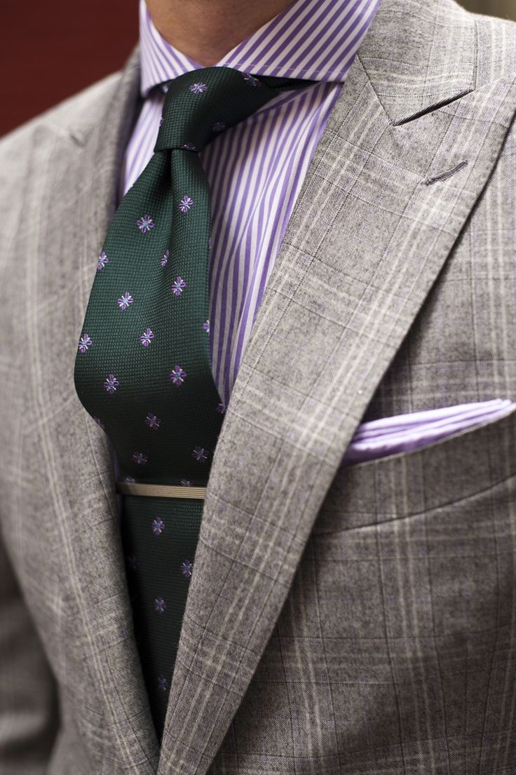 Grey Windowpane W Purple Shirt Green Tie Fashion