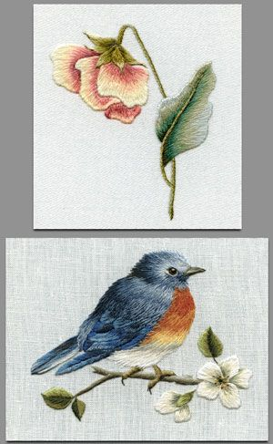 Long and Short Embroidery Stitches featured in both these lovely crewel works.