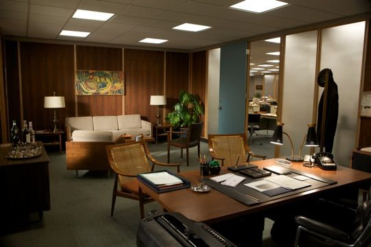 Don Draper's office in Mad Men, the wood paneling is way too mid-century, but the layout is identical to my liking.