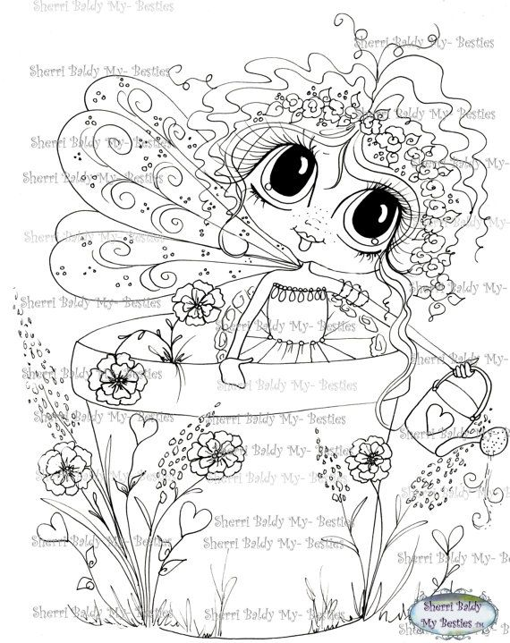 INSTANT DOWNLOAD Digital Digi Stamps Big Eye Big Head Dolls Bestie Img518 Pouting Prudence My Besties By Sherri Baldy